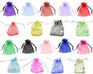 Clearance Sale 100 / 200  Organza Gift Bags With Hearts 5 Sizes Party Wedding