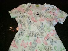 "Scooby Doo size extra small ""Being Brave is Easy"" women's scrub top super cute"