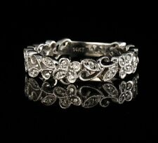 ROUND NATURAL 1/3ctw DIAMOND 14K WHITE GOLD BUTTERFLY & VINE ETERNITY BAND RING