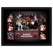 HASSAN WHITESIDE MIAMI HEAT SIGNED AND FRAMED NBA PHOTO COLLAGE