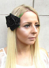 Large Black Rose Flower Hair Clip Vintage Rockabilly 1950s Accessory Floral 1554