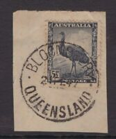 Queensland nice BLOOMBERRY 1947 postmark on 5½d emu piece