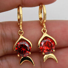 18K Yellow Gold Filled- Chic Fish Style Round Ruby Evening Prom Lady Earrings