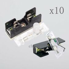 10x FS101 10A 6*30mm Fuse Socket W/ Indicator Light DIN RAIL Mounted Fuse Holder