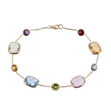 14K Yellow Gold Bracelet With Round and Cushion Cut Gemstones 7.5 Inches