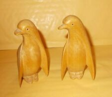 2 PENGUINS CARVED WOOD