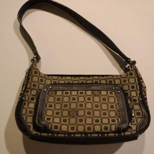 Liz & Co Handbag Signature Logo Brown Beige Purse Geometric Design