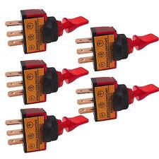 5 X 12V 20A Red LED Light OFF/ON SPST Toggle Rocker Switch 3Pin Car Motor Sales