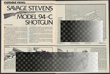 1980 Savage Stevens Model 94-C Shotgun Exploded View Parts List Assembly Article