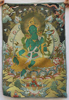 Tibet Buddhism Silk Satin Dragon Green Tara Guan Yin Thangka Painting Mural
