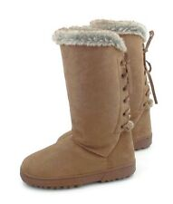 Olive Street Pagan Lace Back Faux Fur Micro suede Fuzzy Boots Chestnut Size 9 M