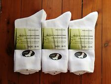 6 PAIRS ORGANIC BAMBOO FIBRE LOOSE TOP DIABETIC SOCK - WHITE 6-11
