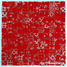 KER-AV Feinsteinzeug Mosaikfliese L156 Oro Rosso Rot mit Glitzer 30cm x 30cm