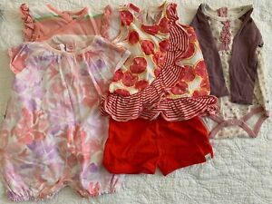 BURT'S BEES BABY LOT OF FOUR (4)  DRESSES ONE 3-6  AND 3 6-9 MOS