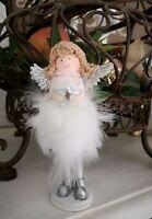 Engel Deko Figur Federn weiß Christmas Weihnachten Shabby Vintage 13cm