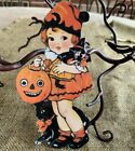 """Repro Vintage 1900s Girl Witch Doll JOL Halloween Cardstock Decoration,8"""" OR 10"""""""