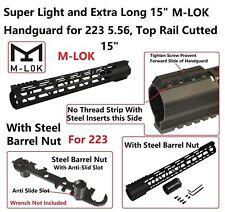 """M-LOK .223 15"""" Inch Ultra-SlimLight Weight Free Float Handguard w/Steel Nut"""
