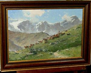 Ziegen im Gebirge, Alexander Follak München, Öl, LW
