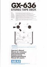 Akai  Bedienungsanleitung user manual owners manual  für GX-636 in englisch