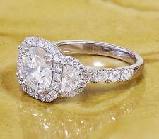 14K WHITE GOLD ROUND FOREVER ONE MOISSANITE AND DIAMOND ENGAGEMENT RING 2.50CTW