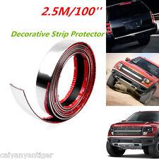 100'' 2.5m Car Door Edge Bumper Guard Strip Protector Moulding Trim Strip Chrome
