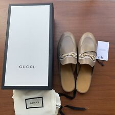NEW GUCCI LADY PRINCETOWN HORSEBIT SLIPPER MULES SHOES 37 US 7 6.5