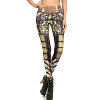 Printed Leggings Women Steampunk Slim Mechanical Cosplay Fitness Pants 1003