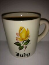 Vintage made in England Yellow Rose coffee mug for Judy 11 oz personalized