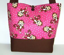 HOT PINK BROWN MONKEYS DIAPER BAG BABY GIRL TOTE HANDBAG STROLLER HAND MADE