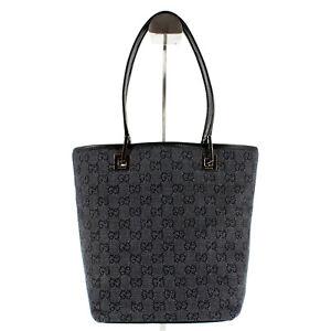 GUCCI Supreme GG Monogram Canvas Leather Mini Tote Bag in Black/Grey - Y2K