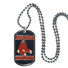 """MLB Boston Red Sox Dog Tag Necklace Engravable 26"""" Chrome Chain Jewelry"""