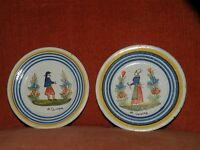 """ANTIQUE pair HR QUIMPER only breton plates French faience pottery 6 3/8"""""""