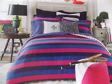 New Tommy Hilfiger Varsity Stripe Hot Pink Purple Twin Comforter & Standard Sham