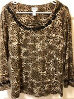 Chico's Sz 2 Animal Print Brown Black Knit Top Blouse Black Trim 3/4 Sleeve Lace