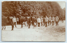 Antique WW1 GERMAN Real Photo RPPC Postcard FARRIER SOLDIERS & HORSES Blacksmith