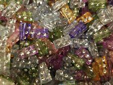 500 pcs Assorted Rhinestone Diamonettes Rectangular Plastic Craft Jewelry Beads