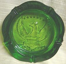 "RARE Heavy GREEN GLASS ASHTRAY by TIARA EXCLUSIVE ""American Seal"" EAGLE & STARS"