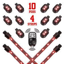 Red Wireless Control 10 Pod 4 Strip Motorcycle Led Underglow Neon Bike Lights