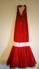 Red Sparkle Sequined Dress Leo Dress Leotard Child Size 12 C-12 Made in usa