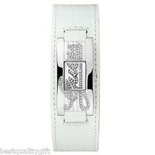 GUESS WHITE CROC LEATHER CUFF BAND+SILVER TONE DIAL+CRYSTAL PAVE WATCH W80055L3