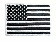 EMBROIDERED AMERICAN FLAG PATCH iron on / sew on USA cloth badge black & white