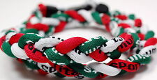 "Pack Of 2 20"" 3 Rope Twist Titanium Necklace Red White Green Tornado Baseball"