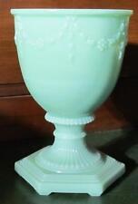 ALADDIN GREEN MOONSTONE FLORENTINE VASE MOSSER GLASS /  alladin oil lamp jadeite