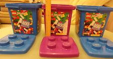 Lego Lot of 3 Storage Container Bucket Tub + Lid Stackable EMPTY NO PIECES 1867