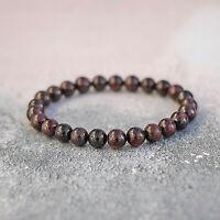Genuine Garnet Bracelet Red Crystal Stretch Fit UK Made Root & Crown Chakra