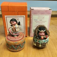 2 Friends of the Feather Figurines-Covered Boxes-Girl with Flute, Mom & Papoose