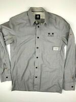 G STAR RAW 3301 Mens Long Sleeve Shirt Full Zip +Button Size M Light Blue