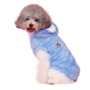 Pet Dog Cat Blue Cute Coat Warm Plush Hoodie Puppy Cotton Sweater Spring Costume