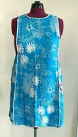 Full Apron Vintage Fruit of the Loom Aqua White Floral 1960's New with Tag