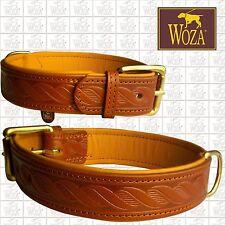 WOZA Premium Dog Collar Embossed Full Leather Padded Soft Cow Napa Handmade HM49